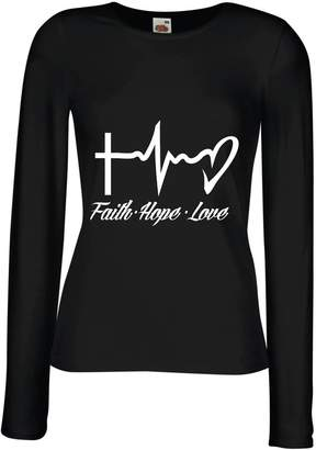 lepni.me T Shirt Women Faith - Hope - Love - 1 Corinthians 13:13, Christian Quotes and Proverbs, Religious Sayings