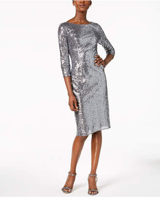 Adrianna Papell V-Back Sequin Sheath Dress