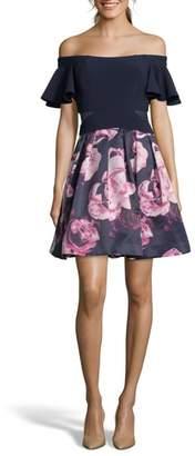 Xscape Evenings Flutter Sleeve Off the Shoulder Party Dress