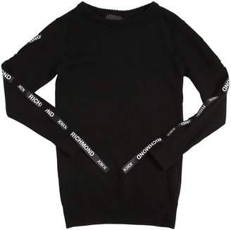 John Richmond KNIT SWEATER DRESS W/ LOGO BANDS