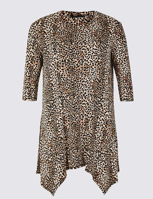 M&S Collection CURVE Animal Print 3/4 Sleeve Top
