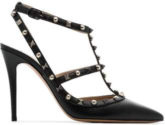 Valentino black Rolling Rockstud 100 leather pumps