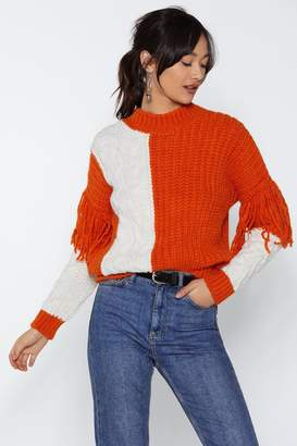Nasty Gal Worth the Tassel Cable Knit Sweater