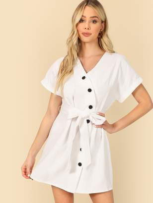 SheinShein Asymmetric Buttoned Placket Dress With Belt