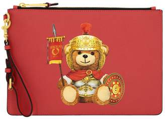 Moschino Clutch Clutch Bag In Synthetic Leather With Gladiator Teddy Print