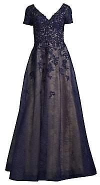 Basix Black Label Women's Beaded Lace A-Line Gown