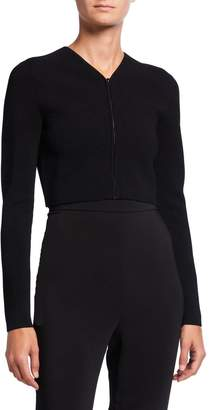 Narciso Rodriguez Ribbed Knit Zip-Front Cropped Cardigan