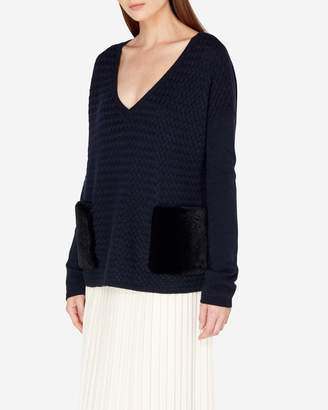 N.Peal Basketweave Cashmere Sweater With Fur Pocket