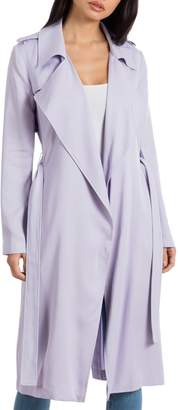 Badgley Mischka Collection Faux Leather Trim Long Trench Coat