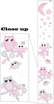 Presto Chango Decor Pink and Grey Owl Growth Chart Wall Art With Chevrons, Swirly Branches, Moon and Stars / Woodland Forest Animals Owl Nursery and Children's Wall Decals Decor