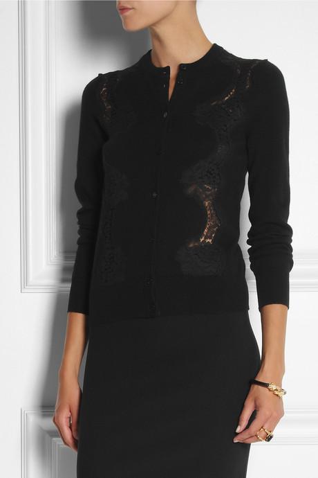 Dolce & Gabbana Lace-trimmed cashmere cardigan