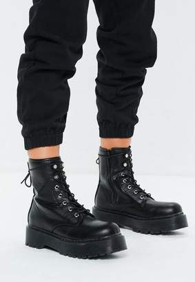 Missguided Black Chunky Sole Lace Up Ankle Boots