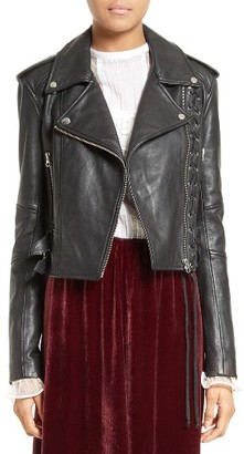 Women's Mcq Alexander Mcqueen Lace-Up Leather Jacket $1,350 thestylecure.com