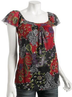 Sweet Pea red floral paisley mesh flutter top