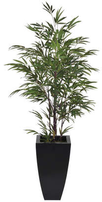 House of Silk Flowers Artificial Black Bamboo Tree in Planter