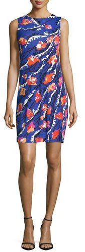 Emilio Pucci Emilio Pucci Sleeveless Round-Neck Skimmer Dress, Purple/Multi