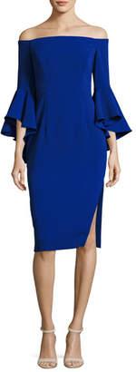Milly Selena Off-the-Shoulder Cady Sheath Dress, Cobalt