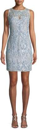 Aidan Mattox Beaded Lace Mini Cocktail Dress