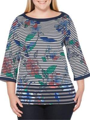 Rafaella Plus Floral & Striped Tunic