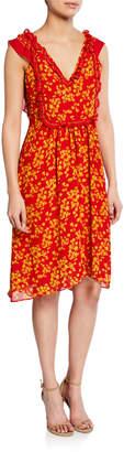 Max Studio Floral-Print Bib A-line Dress