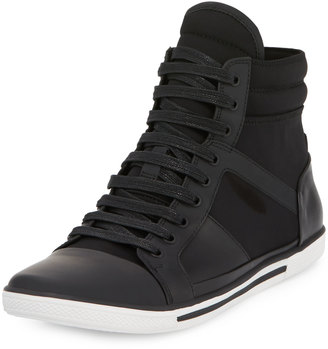 Kenneth Cole Sun Down Leather/Neoprene High-Top Sneaker, Black $149 thestylecure.com