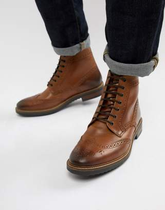 Base London Hopkins brogue boots in tan leather