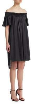 Halston Smocked Off-The-Shoulder Dress