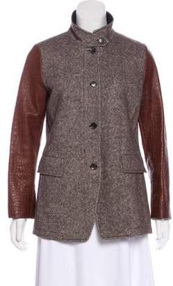 Etro Wool & Alpaca Leather-Trimmed Jacket