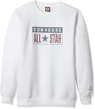 Converse (コンバース) - [コンバース] クロス刺繍裏起毛トレーナー(長袖)(8421-5103) OTH-763 ボーイズ ホワイト 日本 140 (日本サイズ140 相当)