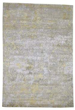 """Isabelline One-of-a-Kind Rentas Hi-Low Pile Hand-Knotted 6'1"""" x 8'10"""" Wool/Silk Gray/Yellow Area Rug Isabelline"""