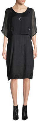 Masai Ozia Shift Dress with Sequined Overlay