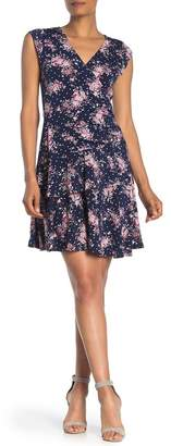 Robbie Bee Ruffle Floral Print Dress
