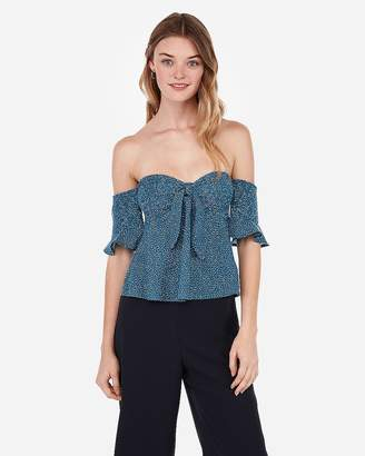 Express One Eleven Printed Tie Front Smocked Tee