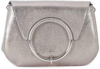 Furla Margherita Silver Leather Shoulder Bag With Metal Ring.