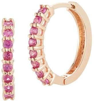 MATEO 14K Rose Gold Pink Sapphire Huggie Hoop Earrings