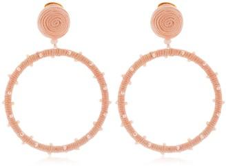 Oscar de la Renta Dotted Beaded Hoop Earrings