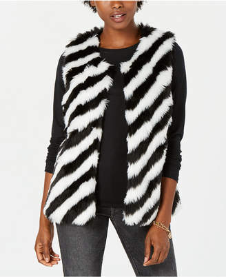 Say What Juniors' Striped Faux-Fur Vest