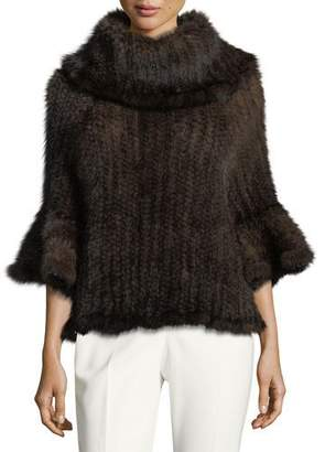 Adrienne Landau Knit Fur Bell-Sleeve Poncho, Brown