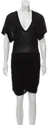 IRO V-Neck Gathered Mini Dress Black V-Neck Gathered Mini Dress