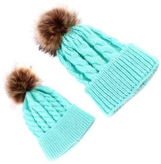 f1a242bd008 MagiDeal Cute Love Sweety Mom and Baby Knitting Ball Hat Winter Warm Cap  Beanie
