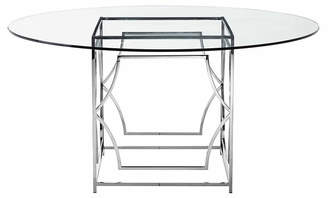 "One Kings Lane Edward 60"" Round Dining Table - Glass/Silver"
