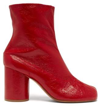 Maison Margiela Tabi Split Toe Leather Ankle Boots - Womens - Red