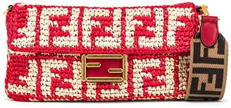 Fendi Baguette Double F Raffia Crossbody Bag in Red   FWRD