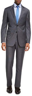 Armani Collezioni Box-Textured Wool Two-Piece Suit, Gray