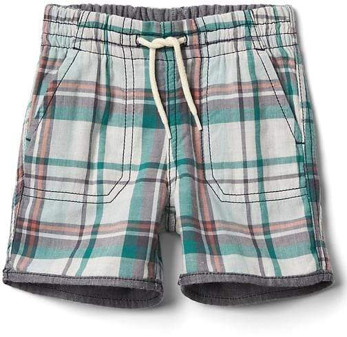 Reversible plaid shorts