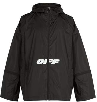 Off-White Off White Wing Off Logo Print Windbreaker Jacket - Mens - Black