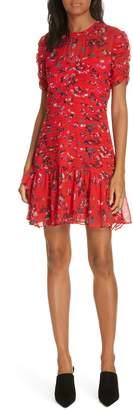 Tanya Taylor Carti Pintuck Detail Silk Chiffon Dress