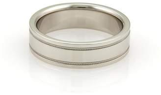 Tiffany & Co. Platinum Double Milgrain Wedding Band Ring Size 8
