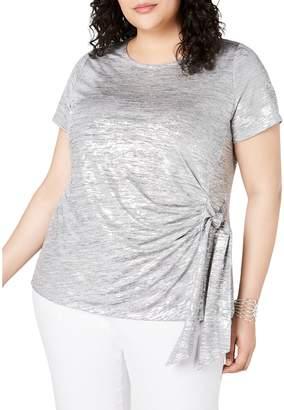 INC International Concepts Plus Side-Tie Shine Top