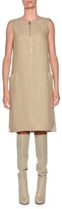 Agnona Double Linen Sleeveless Tunic Dress, White Pattern